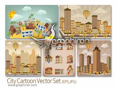 وکتور کارتونی شهر و ساختمان
