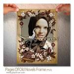 دانلود قاب عکس PSD با طرح گل های بهاری و کتاب های قدیمی