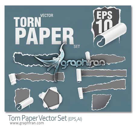 دانلود تصاویر وکتور متنوع کاغذ پاره شده Torn Paper Vector Set