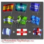 دانلود تصاویر پیش نمایش پرچم چروک خورده و موج دار Flag Mockups
