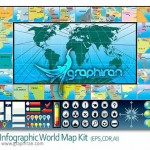 Infographic World Map Kit 150x150 مجموعه آیکون و المان های طراحی نقشه Map Icons & Elements V1
