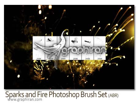 Sparks and Fire Photoshop Brush Set دانلود براش آتش و جرقه فتوشاپ Sparks and Fire Photoshop Brush