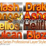 Burning Series 2 Professional Layer Styles 150x150 اکشن افکت مواد مذاب آتشفشانی Lava Rising Photoshop Action