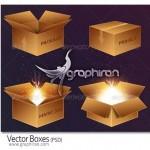 دانلود طرح لایه باز جعبه های کارتونی Vector Box Design