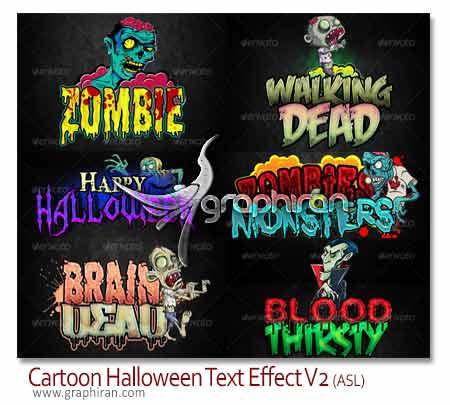 استایل های متن کارتونی هالووین فتوشاپ
