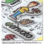 اکشن فتوشاپ ایجاد افکت طرح برچسب ۳ بعدی Sketch Doodle Sticker
