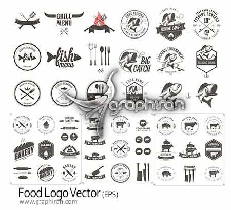 food logo دانلود مجموعه لوگو با موضوع غذا و رستوران Food Logo Vector