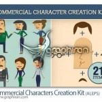 commercial characters creation kit 150x150 دانلود پک عظیم ۲۶۰ المان تزئینی وکتور Handsketched Vectors