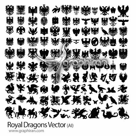 طرح های وکتور انواع اژدها