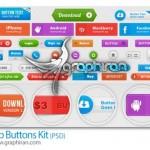 دانلود مجموعه دکمه های طراحی وب گرافیکی فرمت PSD لایه باز