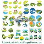 دانلود مجموعه وکتور طرح های گرافیکی مناظر طبیعت از ShutterStock