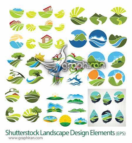وکتور خورشید و کوهوکتور طرح های گرافیکی منظره های طبیعت