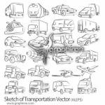 دانلود طرح وکتورهای خطی وسایل نقلیه Sketch of Transportation