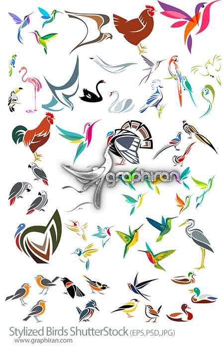 وکتور طرح های انتزاعی پرندگان