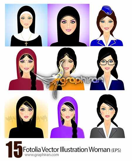 وکتور از طرح های گرافیکی زن ها