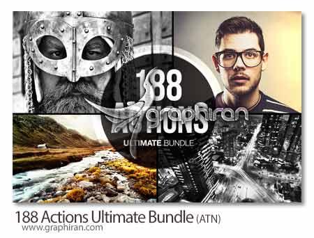 188 Actions Ultimate Bundle دانلود کالکشن عظیم 188 اکشن حرفه ای فتوشاپ + جایزه