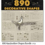 890 Handwritten Shapes Bundle 150x150 دانلود پک عظیم ۲۶۰ المان تزئینی وکتور Handsketched Vectors