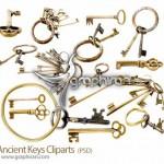 دانلود تصاویر کلیپ آرت کلیدهای قدیمی Ancient Keys Cliparts