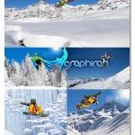 دانلود تصاویر استوک ورزش های زمستانی در کوهستان برفی