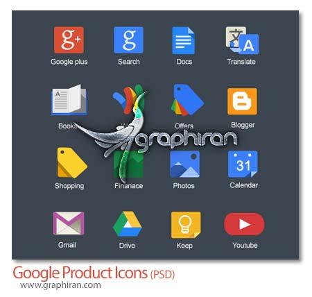 PSD لایه باز آیکون محصولات شرکت گوگل