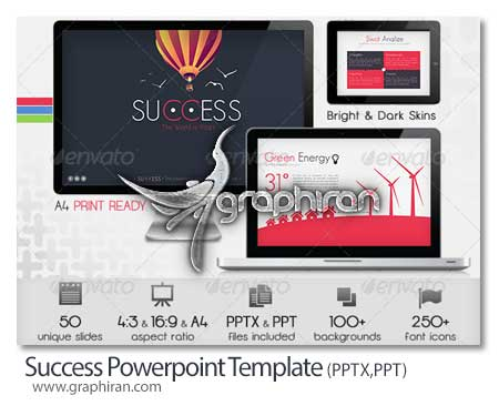 Success Powerpoint Presentation Template قالب آماده پاورپوینت با 50 اسلاید Success Powerpoint Template