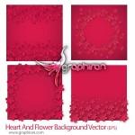 دانلود وکتورهای بک گراند عاشقانه با طرح قلب و گل فرمت EPS