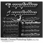 دانلود ۱۱ استایل فلزی جدید فتوشاپ Metallic Chrome Styles