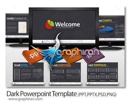 Dark Powerpoint Template دانلود قالب پاورپوینت آماده با 7 اسلاید و انیمیشن های زیبا