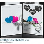 دانلود طرح لایه باز پوستر پرنده های عاشق با طراحی زیبا