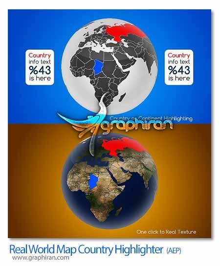پروژه افتر افکت نشانگر کشورها روی نقشه کره زمین