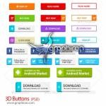 دانلود دکمه های گرافیکی ۳ بعدی لایه باز ۳D Buttons PSD