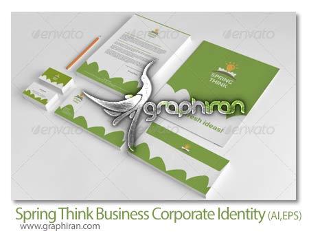 Spring.Think .Fresh .Business.Corporate.Identity دانلود طرح وکتور لایه باز ست اداری با تم بهاری فرمت EPS و AI