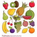 دانلود آیکون میوه ها با فرمت های گرافیکی مختلف Fruit Icons