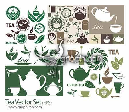 tea دانلود مجموعه وکتورهای گرافیکی با موضوع چای Tea Vector Set