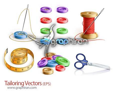 vector دانلود تصاویر وکتور لوازم خیاطی مانند قیچی، نخ و سوزن و متر