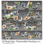 دانلود ماک آپ های نوار عکس ۳ بعدی ۳D Photo Strip Mockups