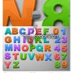 دانلود حروف و اعداد لایه باز با استایل پلاستیک آهنربایی