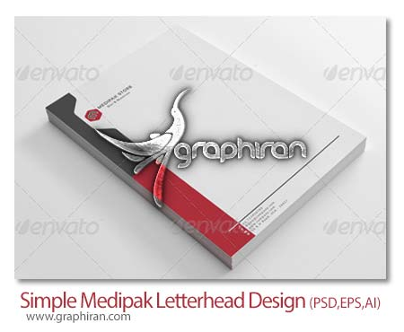 Simple Medipak Letterhead Design دانلود طرح آماده و لایه باز سربرگ زیبا فرمت PSD، EPS و AI