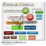 دانلود دکمه های گرافیکی پرکابرد طراحی وب فرمت PSD و PNG
