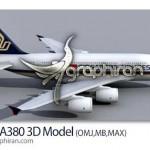 دانلود مدل سه بعدی آماده هواپیما ایرباس A380 برای Maya و ۳ds Max