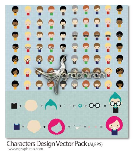 Characters Design Vector Pack دانلود پک وکتور المان های گرافیکی ساخت کاراکترهای کارتونی متنوع