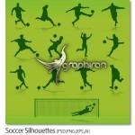 دانلود تصاویر گرافیکی حرکات بازیکنان فوتبال Soccer Silhouettes