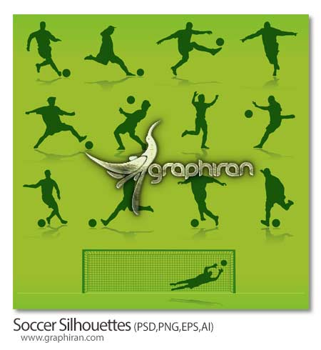 soccer دانلود تصاویر گرافیکی حرکات بازیکنان فوتبال Soccer Silhouettes