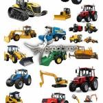 تصاویر استوک ماشین های سنگین ساختمانی و کشاورزی با پس زمینه سفید