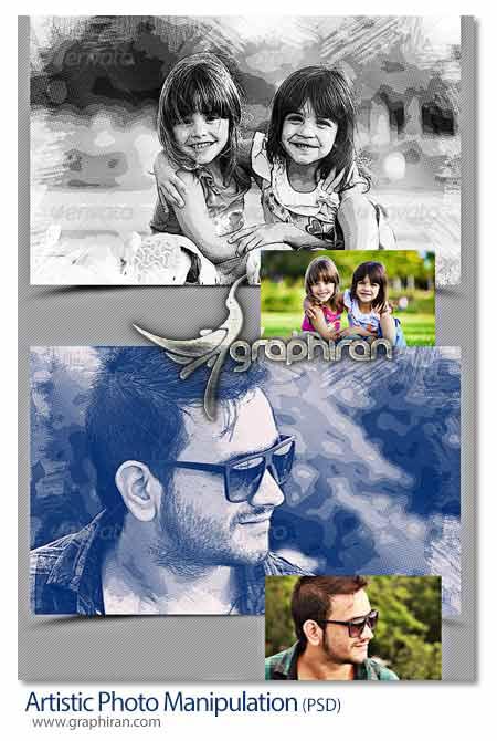 Artistic Photo Manipulation دانلود فایل PSD ساخت افکت های عکس هنری در 10 رنگ مختلف