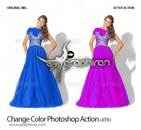 اکشن فتوشاپ تغییر رنگ بخشی از عکس