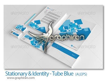 Stationary Identity Tube Blue طرح وکتور لایه باز ست اداری کامل فرمت های EPS و AI