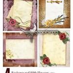 دانلود تصاویر بک گراند عاشقانه با کادر گل و طراحی زیبا