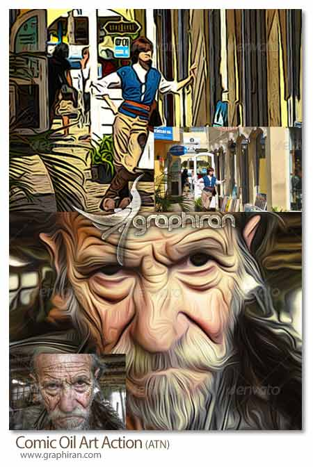 اکشن فتوشاپ ساخت افکت نقاشی رنگ روغن