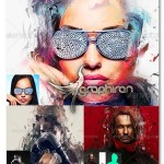 اکشن فتوشاپ Konstruct ساخت افکت رنگ های پراکنده انتزاعی روی عکس